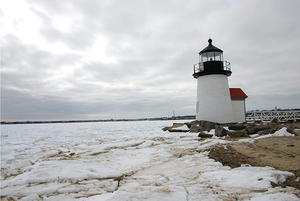 Brant Point Lighthouse, Frozen Harbor, Nantucket
